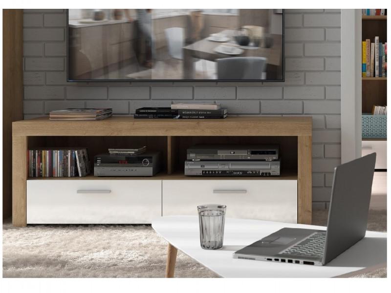 Modern Compact 135cm TV Cabinet Media Entertainment Stand Drawer Storage Unit Oak Effect White Gloss - Balder (S382-RTV2S-DRI/BIP-KPL01)
