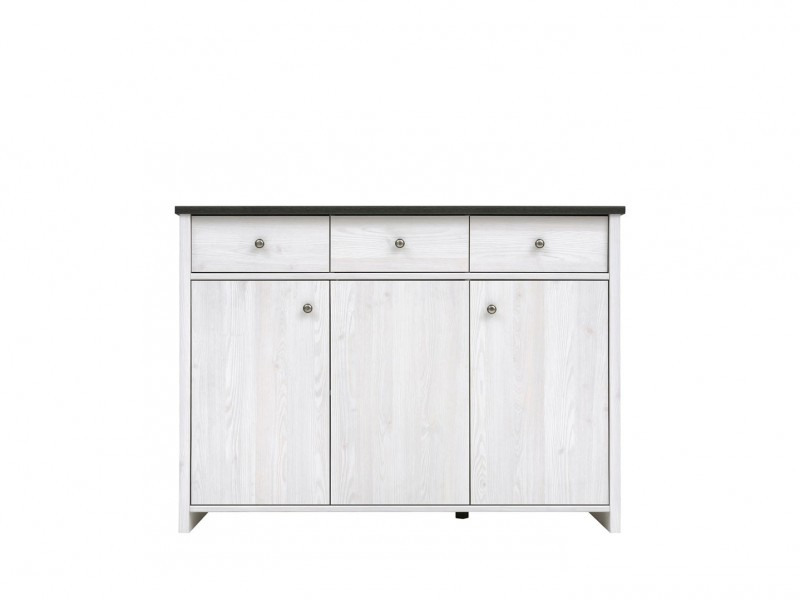 Scandinavian Sideboard Dresser Cabinet in shabby chic white wash finish or Oak finish - Porto (KOM3D3S)