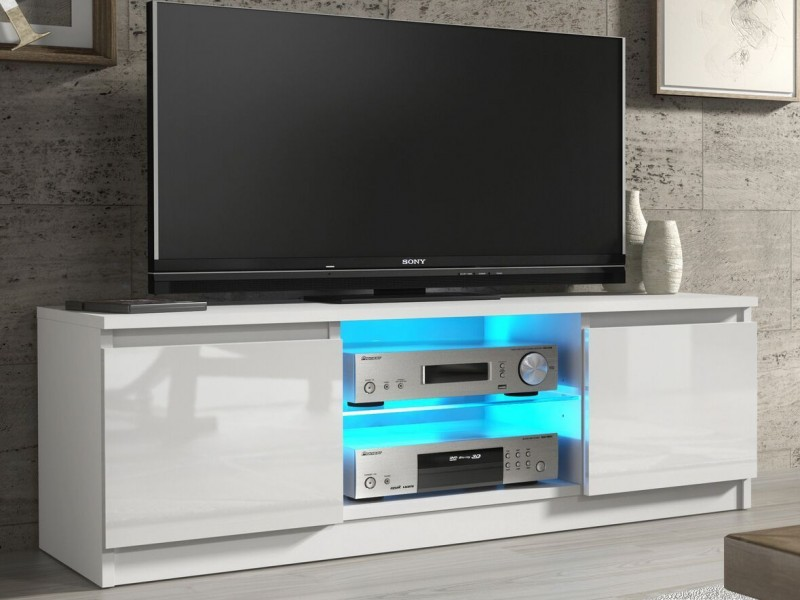 White Gloss Tv Unit Cabinet With Glass Shelf And Led Light 120cm