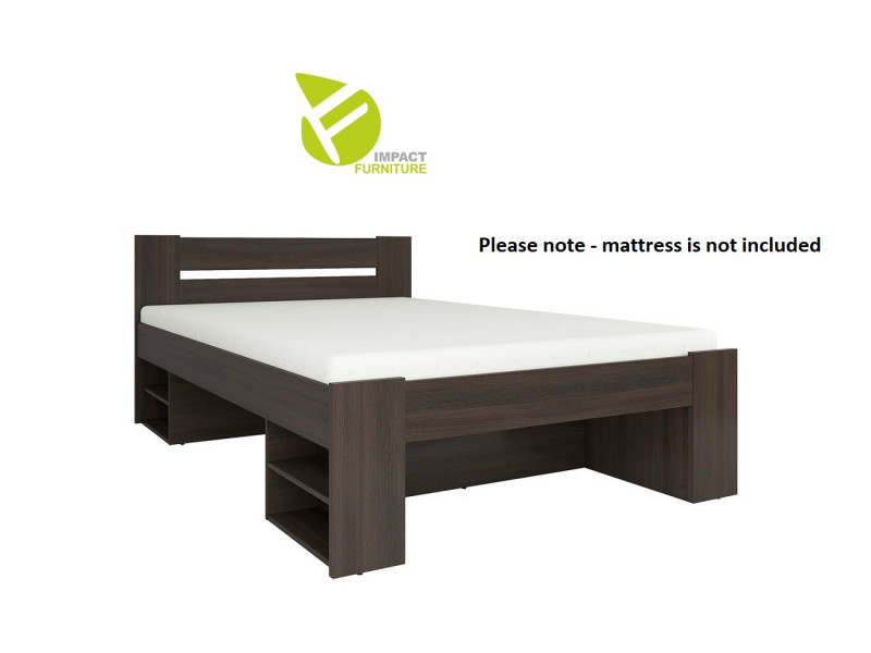 Storage Double Bed Frame in Wenge Dark Wood Finish with Wooden Slats- Nepo (S435-LOZ3S-WE-KPL01+WKL140/L16-BK)