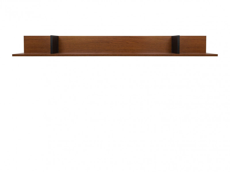 Retro Wall Mounted Display Floating Panel Long Shelf Living Room Black/Brown Oak - Madison (S431-POL/160-DABR-KPL01)