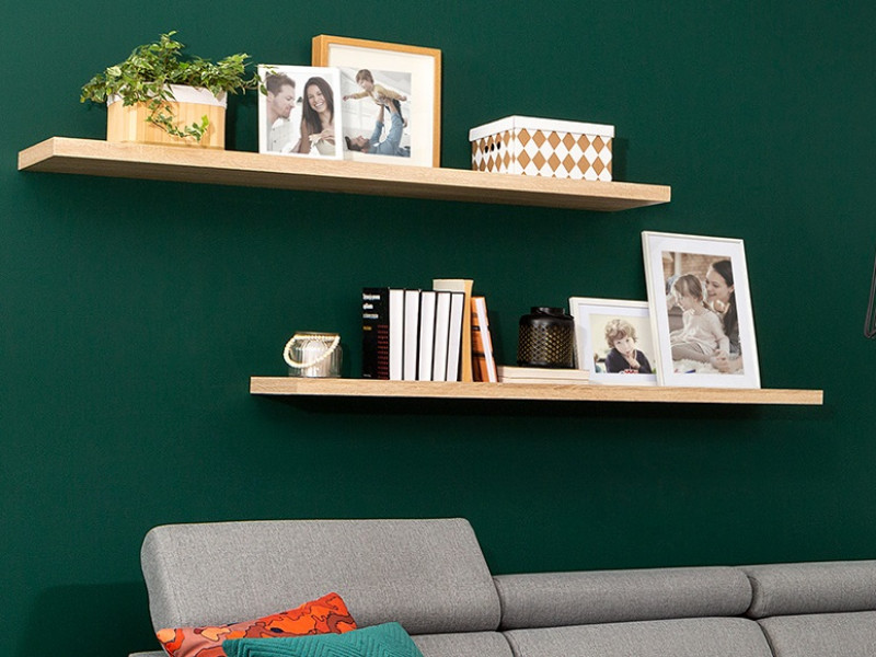 Modern Long Shelf Wall Mounted Floating Wall Shelf Sonoma Oak Effect 143.5cm - Kaspian (S128-POL/140-DSO-KPL03)
