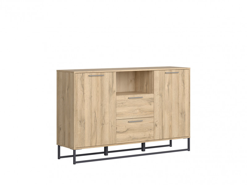 Industrial Large Sideboard Dresser Cabinet Unit with Drawers 150cm Oak - Gamla (L79-KOM2D2S-GOK-KPL01)