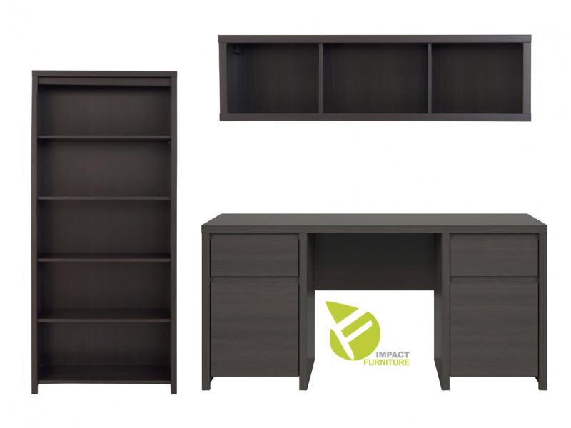 Modern Office Study Furniture Desk Bookcase Shelving Wall Unit Set Brown Wenge Finish - Kaspian (KASP OFF SET2 WE)