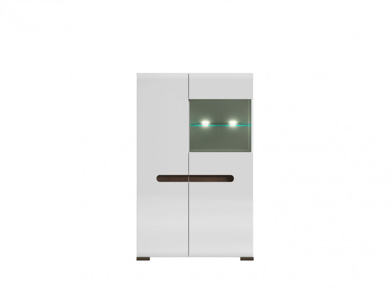 Glass Wide Display Cabinet LED Light White Gloss or Oak - Azteca (REG1W1D/14/9)