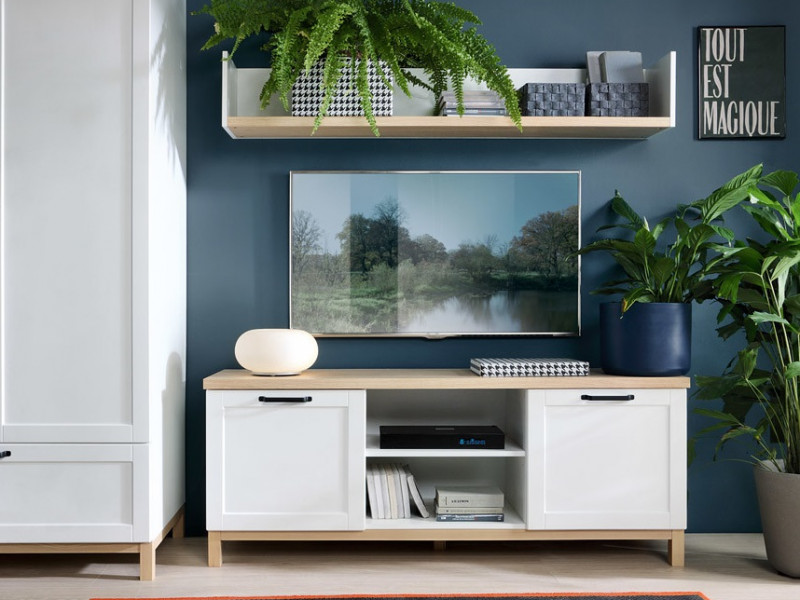 Scandinavian Media Table TV Stand Storage Cabinet Unit with Doors in White & Oak - Haga (S369-RTV2D-BIM/BIC-KPL01)