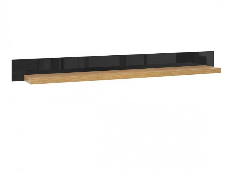 Modern Floating Wall Panel Shelf 150cm Oak Wood Veneer Black Gloss Finish - Arosa (S346-POL/150-DBC/CAP-KPL01)
