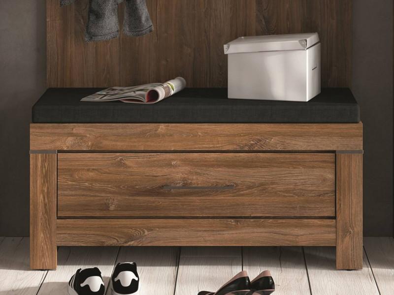 Modern Hallway Storage 101cm Shoe Bench with Brown Seat Cushion & 1 Drawer Medium Oak Effect  - Gent (M244-KOM1S/5/10-DAST-KPL01)