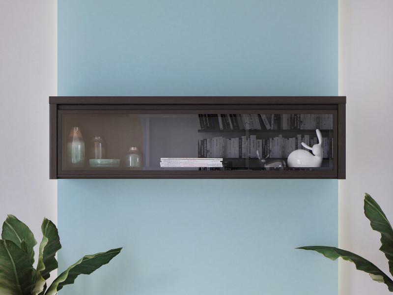 Modern Wall Glass Cabinet Wenge Dark Wood - Kaspian (S128-SFW1W/140-WE/WE-KPL01)