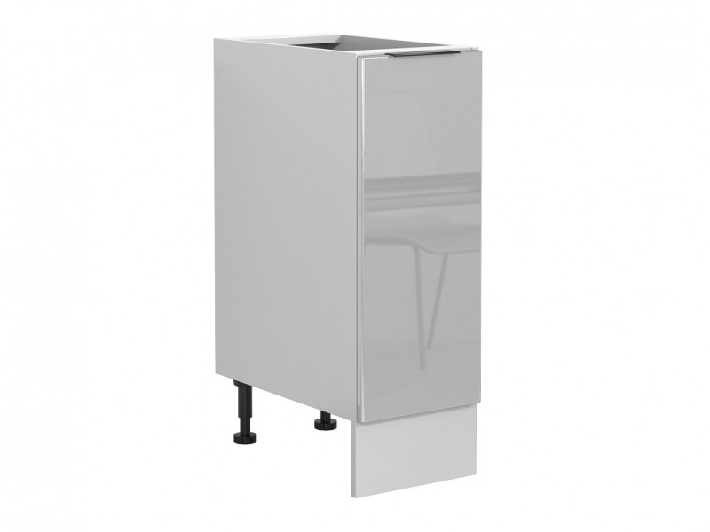 Light Dove Grey Gloss Kitchen Base Cabinet 30cm Cupboard 1 Door Free Standing 300 Unit - Luna (STO-LUNA-D30-P/L-SZ-SZP-KP01)