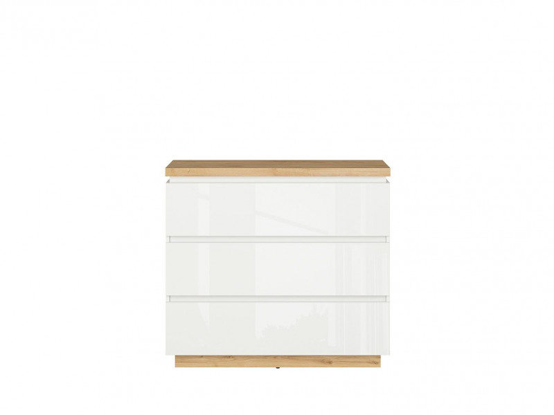 Modern White Gloss / Oak finish Large Chest of 3 Drawers Storage Unit - Erla (S426-KOM3S-BI / DMV / BIP)