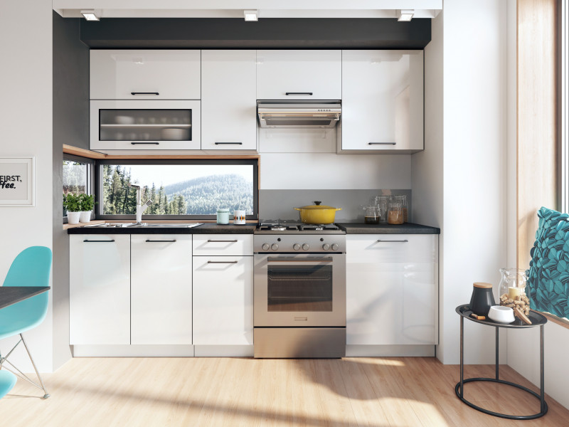 Scandinavian Style Kitchen White Gloss Cabinets Cupboards 7 Unit DIY Kitchen Set  - Roxi (Roxi 7UnitSet)