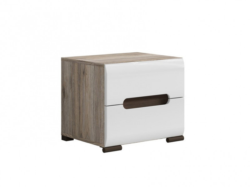 Modern Bedside Cabinet Side Table White Gloss Azteca With