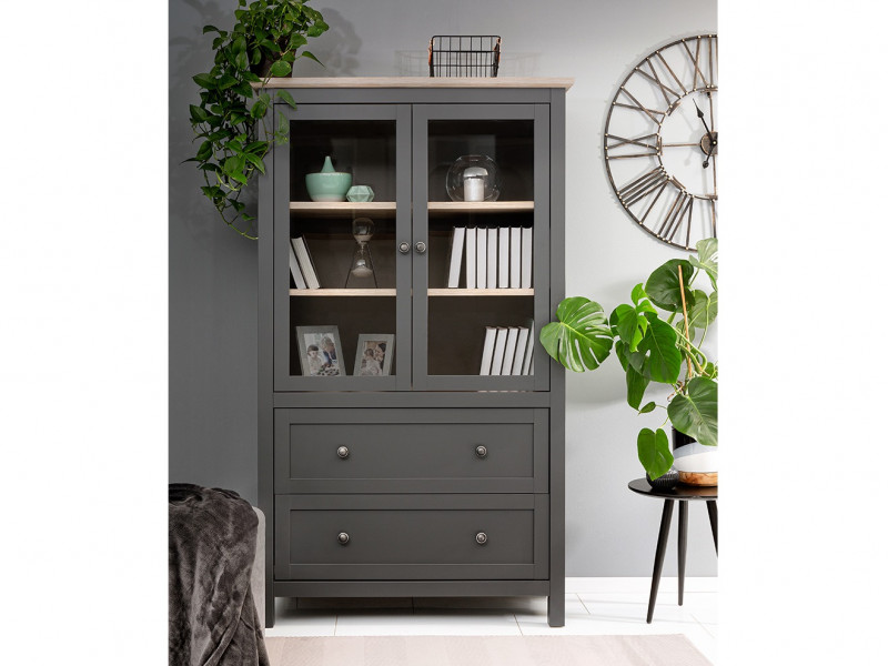 Modern Glass Fronted Display Cabinet Tall Storage Unit Country Grey / Oak Effect - Bocage  (S503-REG2W2S/18/11-GF/DSAJ-KPL01)