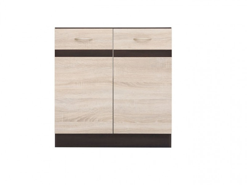 Modern Free Standing Kitchen Cabinet Cupboard 800 Sink Unit 80cm Sonoma Oak/Wenge - Junona (K22-DK2D/80/82-WE/DSO/WE-KPL01)