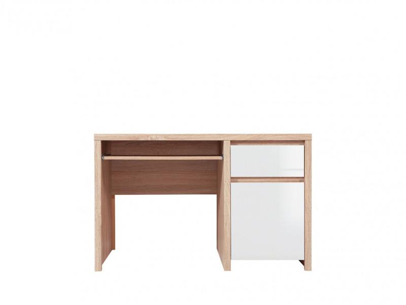 Sonoma Oak & White Gloss Study Office Desk with Cabinet & Drawer - Kaspian (S128-BIU1D1S/120-DSO/BIP-KPL01)