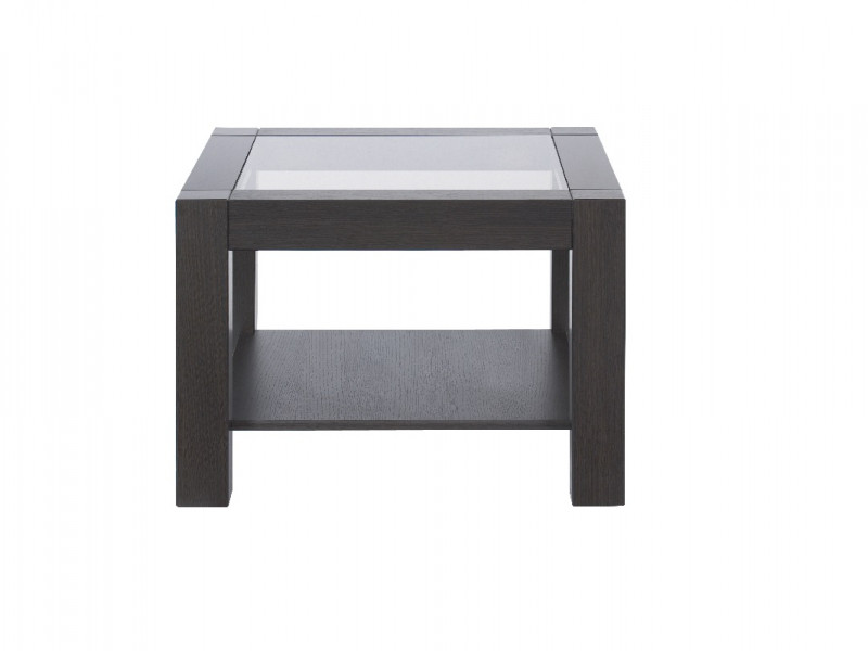 Modern Wenge Dark Wood 64cm Coffee Occasional Side Table Sturdy Square Design with Safety Glass Top - Rumbi (D05028-RUMBI2/64/64-WE-KPL01)