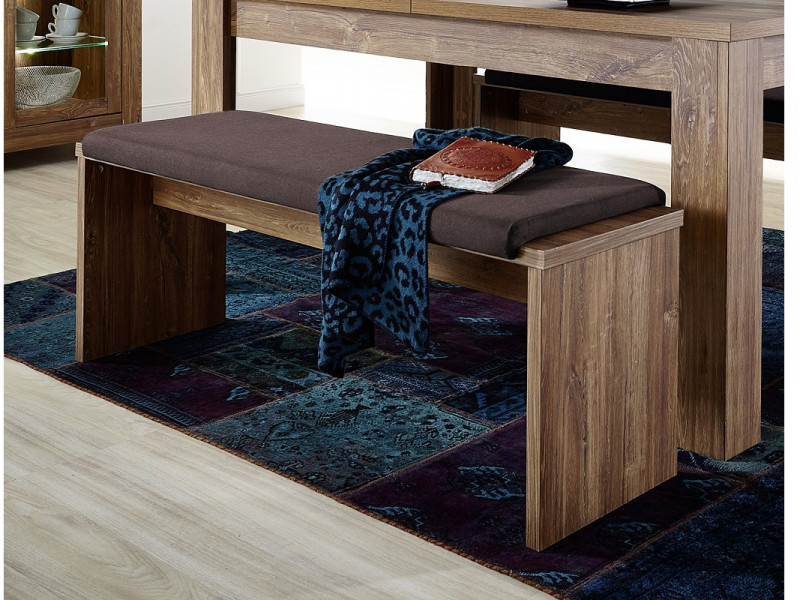 Modern Dining Upholstered Table 126cm Bench Seating Brown Fabric and Medium Oak Effect - Gent (S225-LAK/5/13-DAST-KPL02)