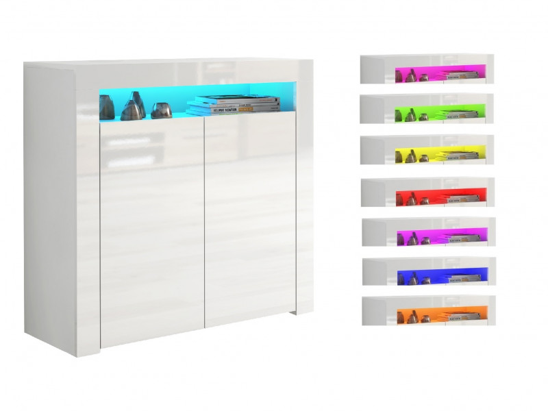 Small Sideboard Display Cabinet White High Gloss 2 Door Unit with RGB LED Light - Lily (HOF-LILY2D-BI/BIP-KP01-LED-RGB)