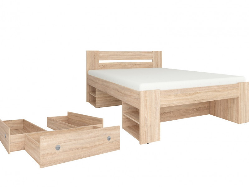 Double Bed & 3 Storage Drawers. Nepo bed in White, Wenge or Oak ...