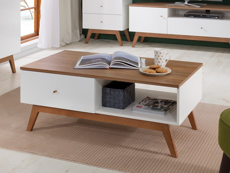 Scandi White Gloss/Walnut Finish Coffee Table 1-Drawer Open Compartment Wooden Legs Living Room Table - Heda (S385-LAW1S-BI/MSZ/BIP-KPL01)