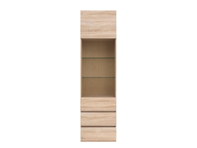 Modern Tall Glass Display Cabinet Storage Shelving with 1-Drawer LED Lights Sonoma Oak - Academica  (S324-REG1W2S-DSO-KPL02+S324-REG1W2S_OPCJA)
