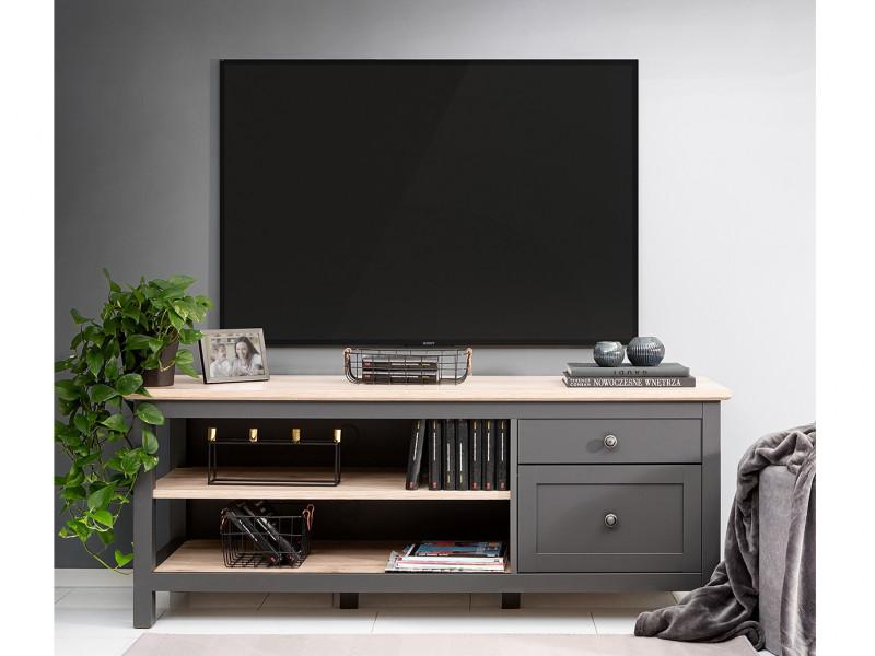 Modern TV Cabinet Media Storage Unit with Drawers Country Grey/Oak Effect - Bocage  (S503-RTV1D1S/7/16-GF/DSAJ-KPL01)