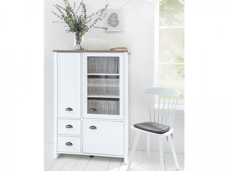Wide Glass Fronted Display Cabinet 3 Door 2 Drawer Unit Dresser White / Oak finish - Cannet (S351-REG2D1W2S-BI/DAMO/BI)