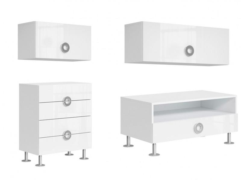 Modern White Gloss Living Room Furniture Set 4 Cabinets - Ringo (RINGO LIV SET1)
