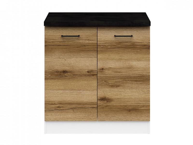 Modern Free Standing Kitchen Cabinet 800 Base Cupboard 2-Door Unit 80cm Light Delano Oak - Junona (K24-D2D/80/82-BI/DDJ/LMC-KPL01)