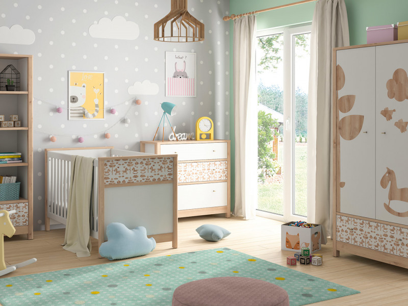 Modern White / Beech Kids Baby Nursery Furniture Set Rocking Horse Design Cot Bed Wardrobe Chest - Timon (S401-TIMON SET)