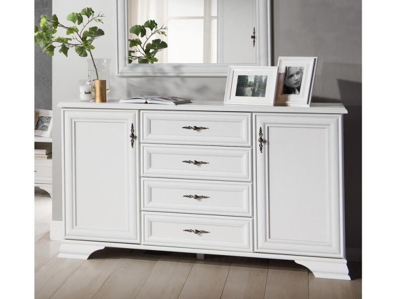 Classic White Matt Sideboard Dresser 4 Drawer Storage Cabinet Large 2 Door 154cm - Idento (S320-KOM2D4S-BI-KPL01)