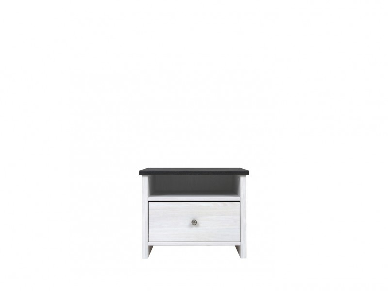 Bedside Cabinet Table White Wash Wood Effect - Porto (S322-KOM1S/50-MSJ-KPL01)