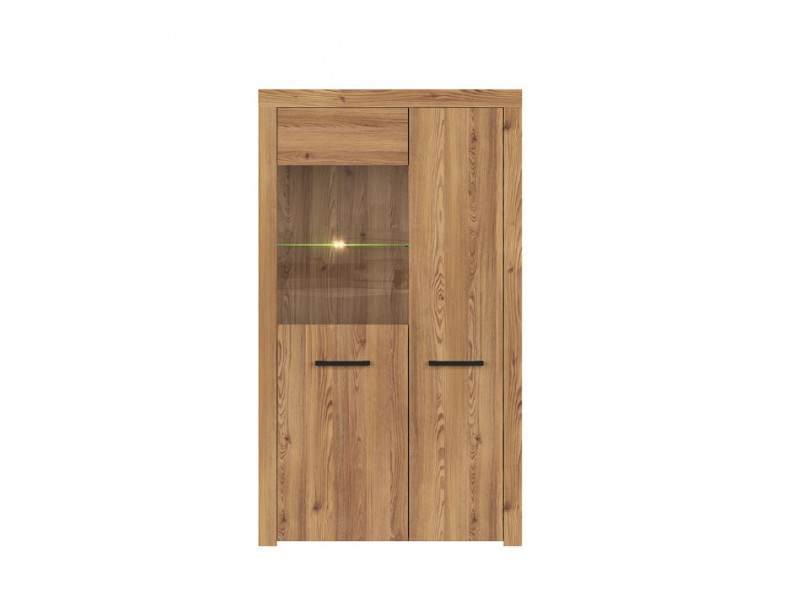 Modern Wide Glass Fronted Display Cabinet Unit in Oak finish with LED Lights - Vasto (S429-REG1D1W-MSZ-KPL01+LED)