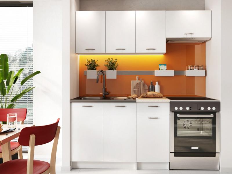 Complete Kitchen Set of 5 Cabinets Units Flat Pack in White Matt Effect finish – Nela 1 (STO-NELA_SET-5UNITS_1.2/1.8-WHITE)