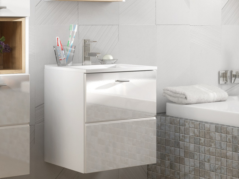 Modern Wall Mounted White Gloss Vanity Unit Bathroom Cabinet with Sink 400mm 40cm - Finka (FINKA_821_WHITE+CFP-9048B/8023-DP)