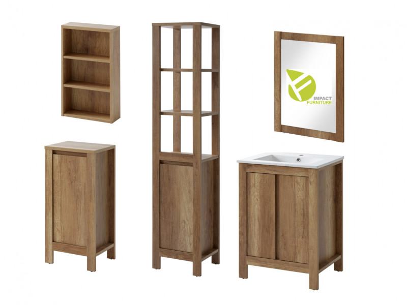 Classic Vanity Bathroom Cabinets Set Freestanding 60cm Oak - Classic Oak (CLASSIC_820+CFP-9060_DP+840+800+830+810_SET_OAK)