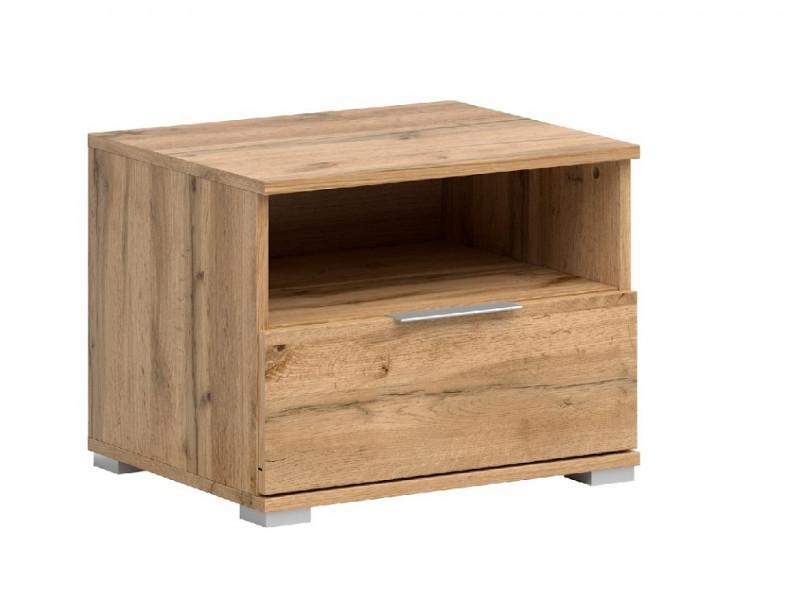Modern Bedside Cabinet Drawer Storage Side Table Unit 50cm Oak Effect- Zele (S383-KOM1S-DWO-KPL01)