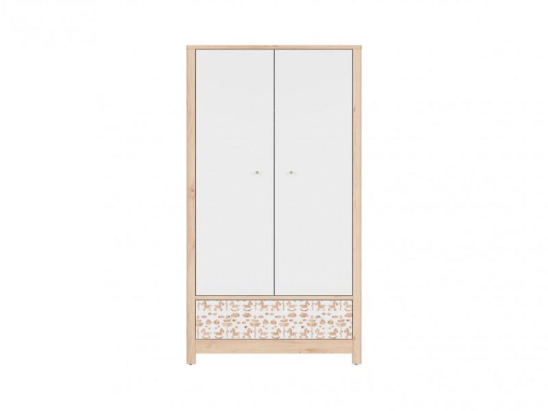 Skandinavian Two Door Double Wardrobe with Drawer Kids Baby Nursery Furniture White / Beech - Timon (S401-SZF2D1S-BUI/BI/KOA/BI-KPL01)