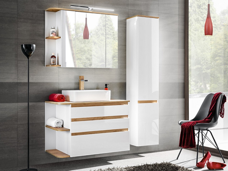White Gloss & Oak Finish Bathroom Furniture Set: LED Mirror Unit, Tall Cabinet Wall Vanity with Countertop Sink - Platinum (PLATINUM_820_WHITE+CFP-6288_DP_800+PLATINUM_800 _840)