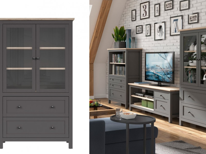 Modern Glass Fronted Display Cabinet Tall Storage Unit Country Grey / Oak Effect - Bocage  (S503-REG2W2S/18/11-GF/DSAJ-KPL01)