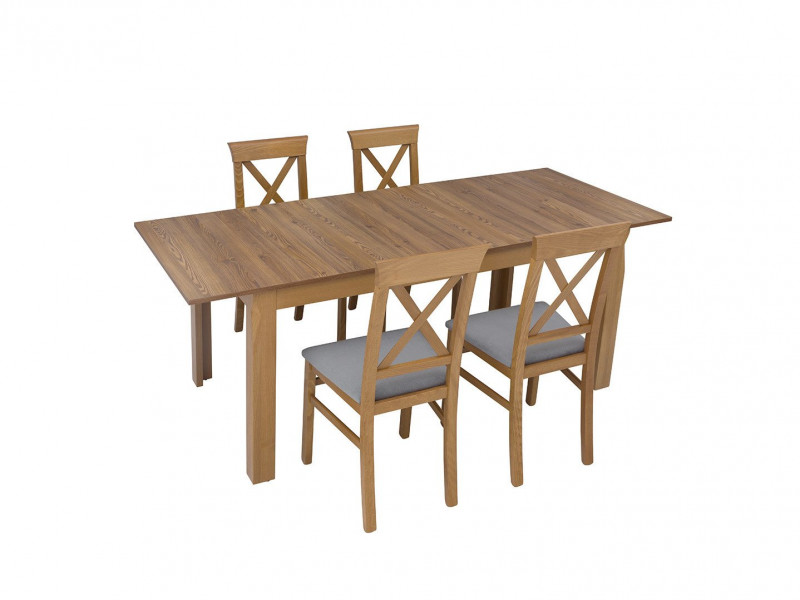 Traditional Light Oak Dining Room Table with 4 Chairs Set in Beech Wood with Grey Seat - Bergen (S359-DINING-SET)