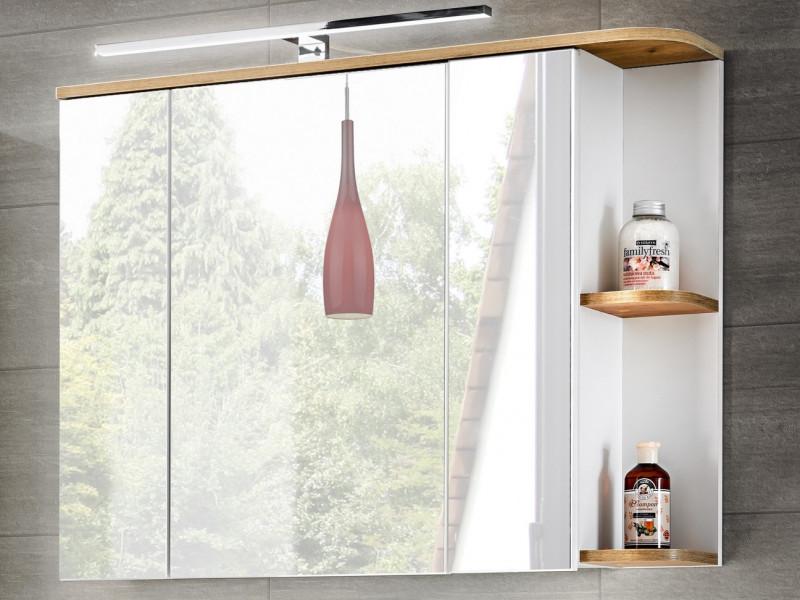 Modern Wall Bathroom Shelf Cabinet Mirror Door Unit with LED Light White/White Gloss Oak - Platinum (PLATINUM_840+LAMPA_MOON)