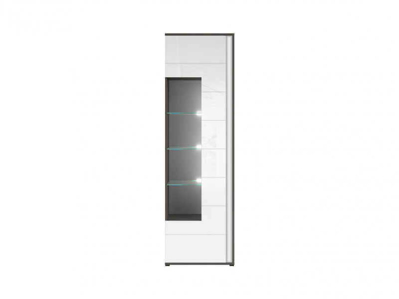 Tall Glass Display Cabinet Grey White High Gloss LED Light Left - Graphic (REG1WL)