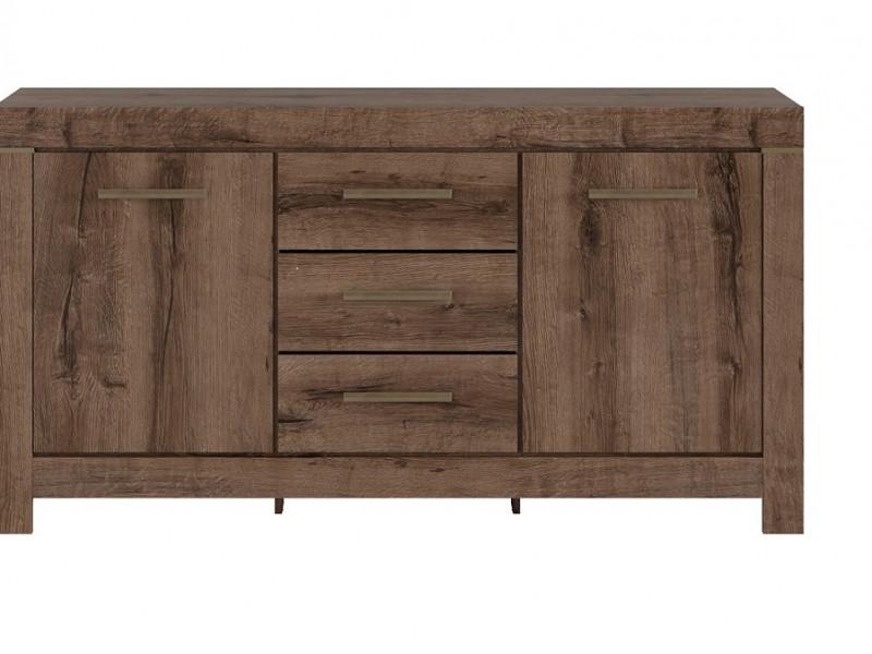 Modern Living Room Wide Sideboard Dresser Storage Cabinet 2 Door Unit with 3 Drawers Oak - Balin (S365-KOM2D3S-DMON-KP01)