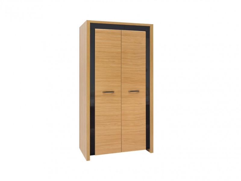 Modern Double 2 Door Wardrobe Storage in Oak Wood Veneer Black Gloss - Arosa (S346-SZF2D-DBC/CAP/DNA-KPL01)