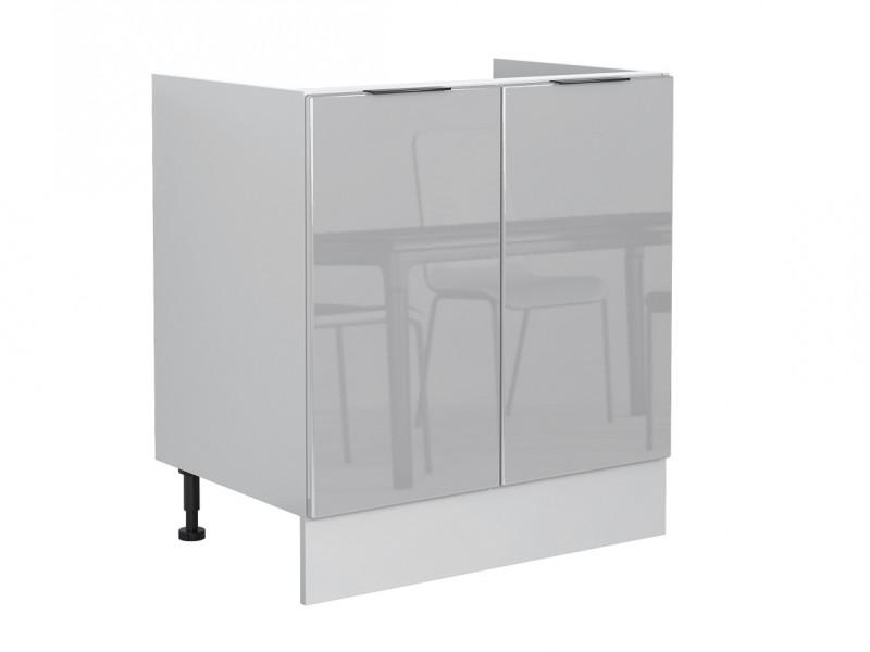 Light Dove Grey Gloss Kitchen Sink Base Cabinet 80cm Cupboard Free Standing 800 Unit - Luna (STO-LUNA-D80_ZL-SZ-SZP-KP01)