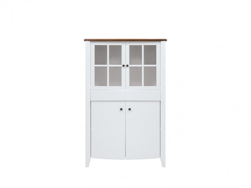 Classic 2-Door Wide Glass Display Cabinet Wood Storage Unit Drawer White Gloss/Acacia - Kalio (S423-REG2D2W1S-BIP/ACZ/BIP)