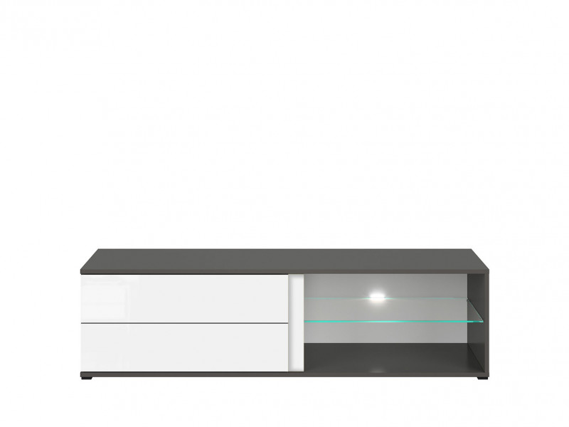 TV Cabinet 143 cm Grey & White Gloss Modern Reversible Colour Strip - Graphic ( S343-RTV2S/142/C-SZW/BLP)