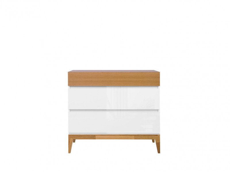 Scandinavian Living Room Chest of 3 Drawers Cabinet Storage Unit Wooden Elements White Gloss/Oak - Kioto (S425-KOM3S-BI / BIP / DNA)